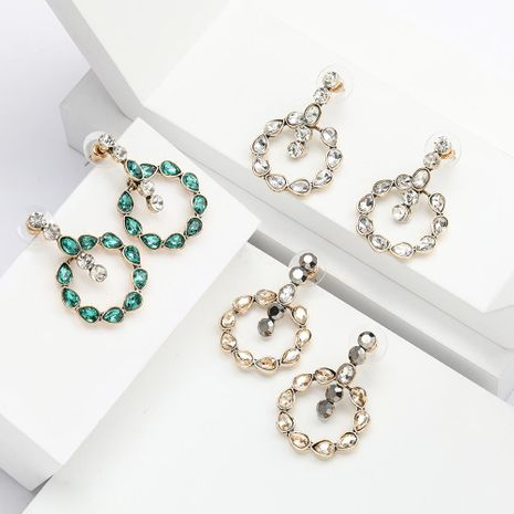 Round alloy drop-shaped rhinestone diamond earrings for women NHJE192772's discount tags