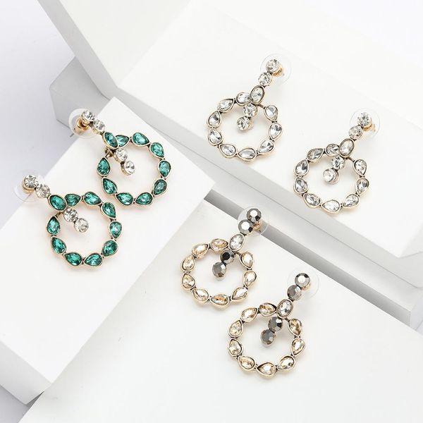Round alloy drop-shaped rhinestone diamond earrings for women NHJE192772