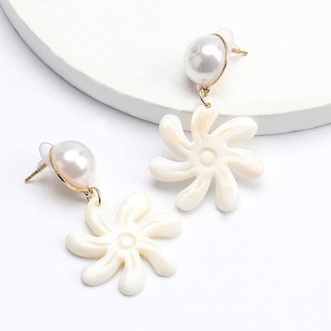 Women's new alloy earrings with pearl acetate plate flowers NHJE192774's discount tags