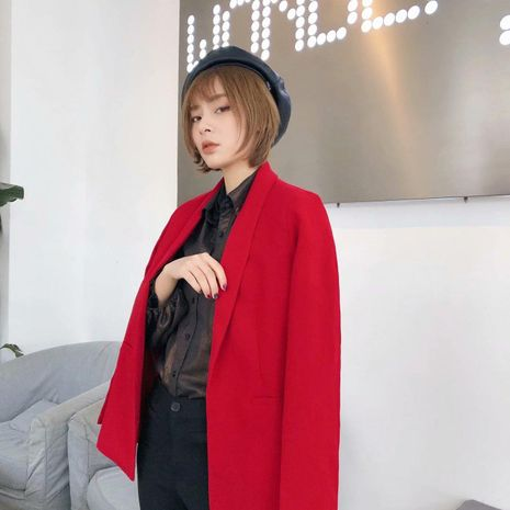 Wholesale new female casual western style fashion straight red suit jacket NHAM192780's discount tags