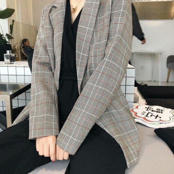 Wholesale New Women's Loose Casual Simple Plaid Belt Suit NHAM192782