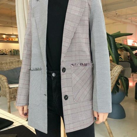 Wholesale new women's loose fashion casual color matching plaid suit NHAM192783's discount tags