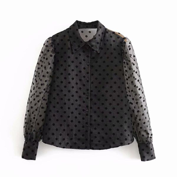 Wholesale New Tulle Dot Front Button Down Bubble Long Sleeve Shirt NHAM192786