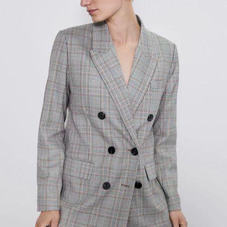 Wholesale Plaid Double Plaid Women's Plaid Slim Suit Jacket NHAM192788's discount tags