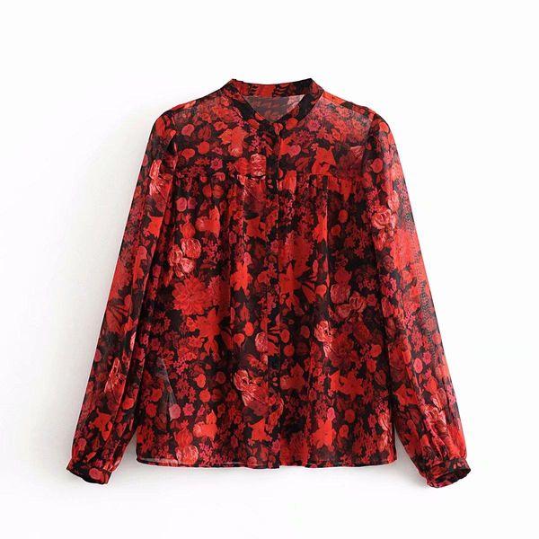 Wholesale New Flowy Crepe Flower Printed Collar Long Sleeve Shirt NHAM192798
