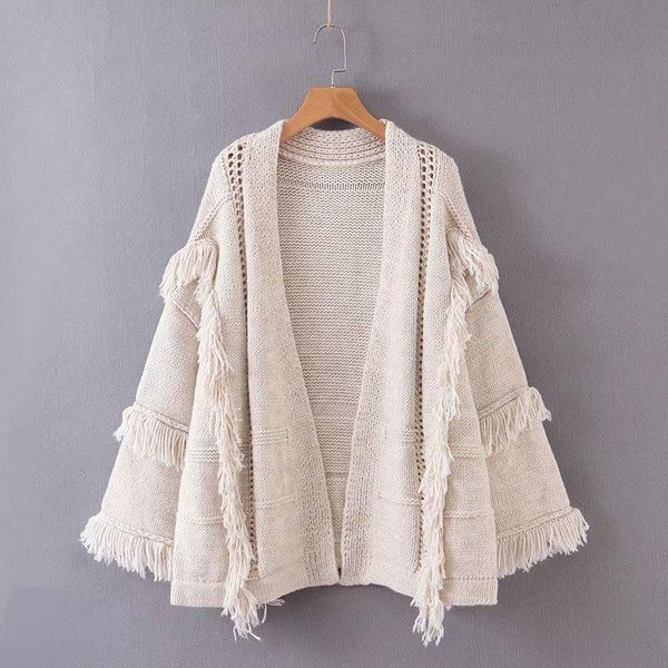 Wholesale loose thick tassel women's cardigan sweater coat NHAM192846