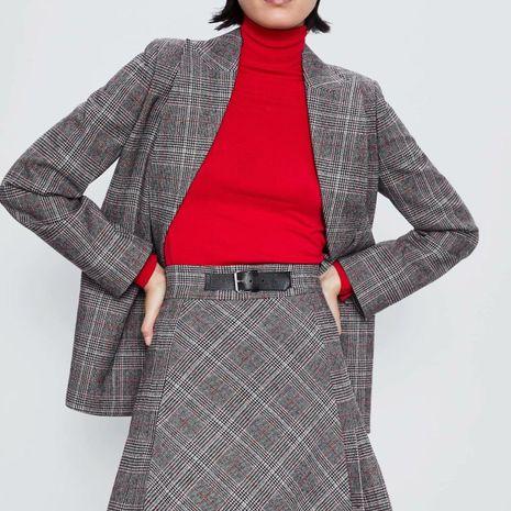 Wholesale Plaid Pleated Skirt Skirt NHAM192912's discount tags