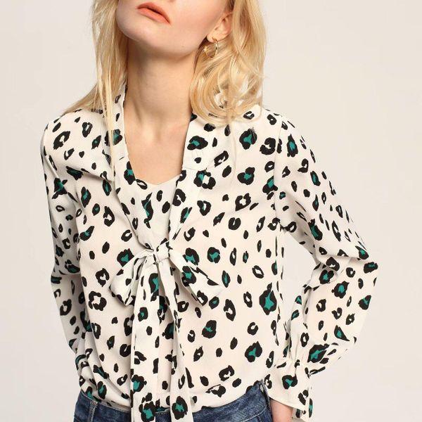 Wholesale v-neck leopard print long sleeve blouse NHAM192921