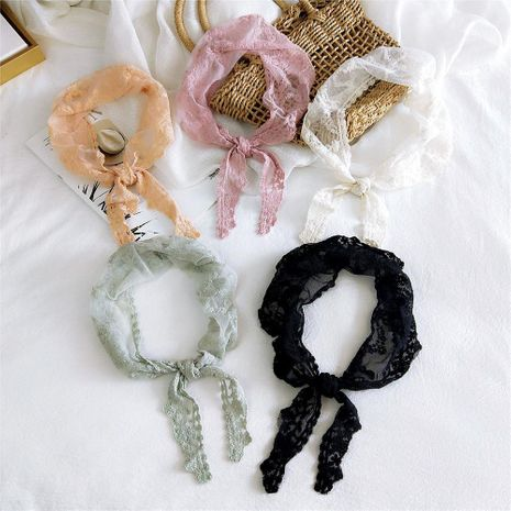 New lace lace solid color triangle scarf female winter small round corner small scarf wrist small scarf NHMN192930's discount tags