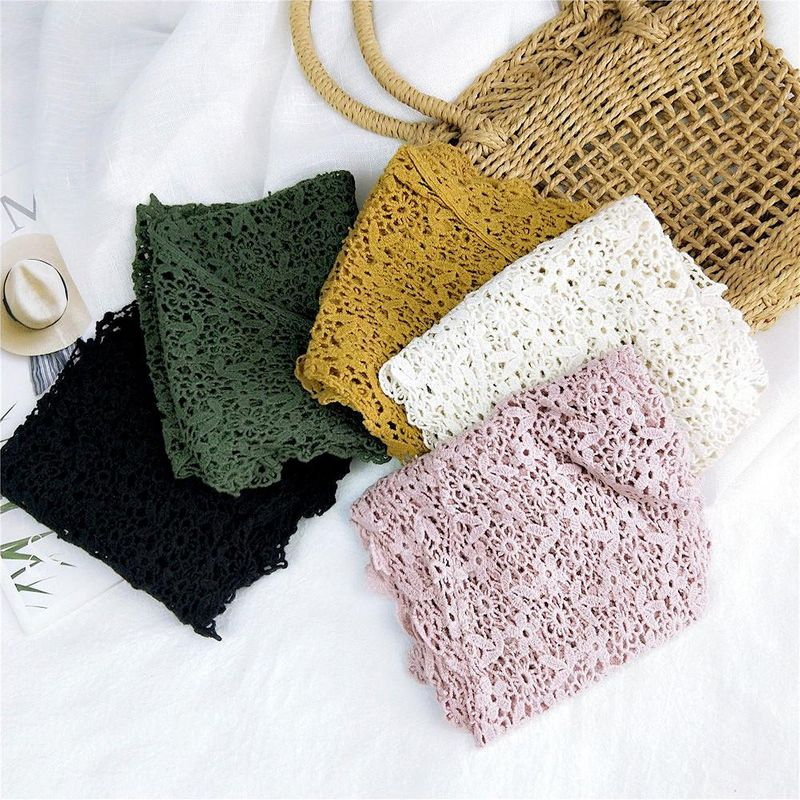 New lace lace solid color triangle scarf female winter flower decoration scarf small wrist scarf NHMN192932