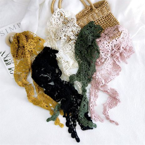 New lace lace solid color triangle scarf female scarf small wrist scarf NHMN192933's discount tags