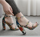 New womens shoes colorful snake pattern Roman thick highheeled sandals NHSO193029