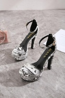 New Womens Shoes Sexy Snakeskin Open Toe Buckle High Heel Sandals NHSO193031