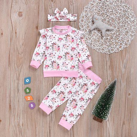 Imprimé de fleurs princesse trois pièces vêtements pour enfants de mode NHYB193040's discount tags