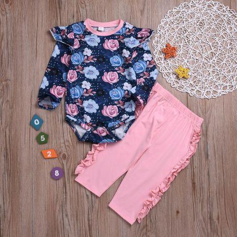 Ensemble de nouveaux pantalons à manches longues pleine fleur rose coton costume deux pièces NHYB193046's discount tags