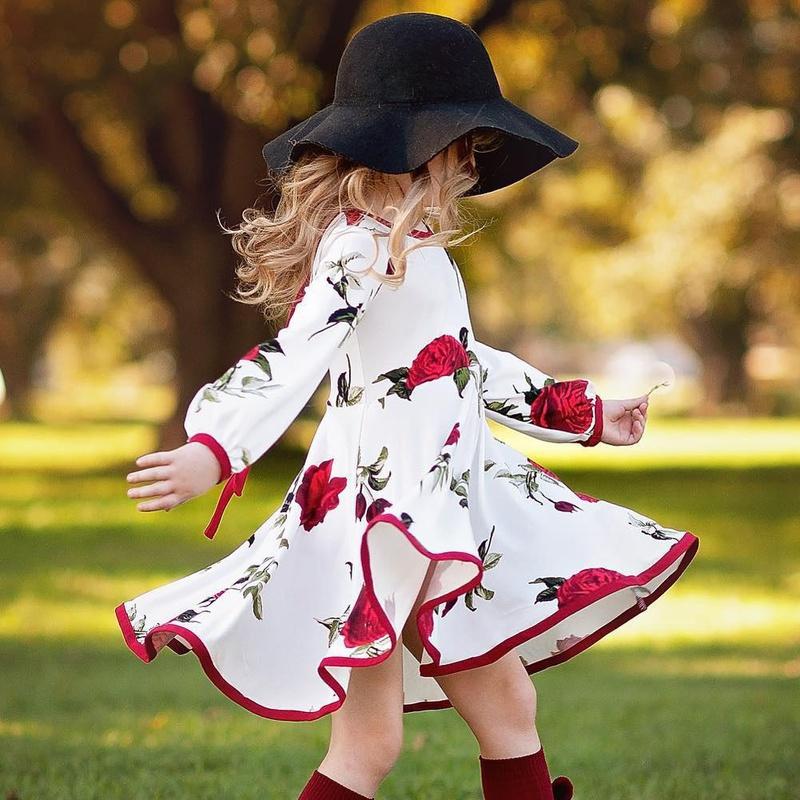 Vestido de niña vestido infantil rosa roja manga larga vestido blanco princesa NHYB193053