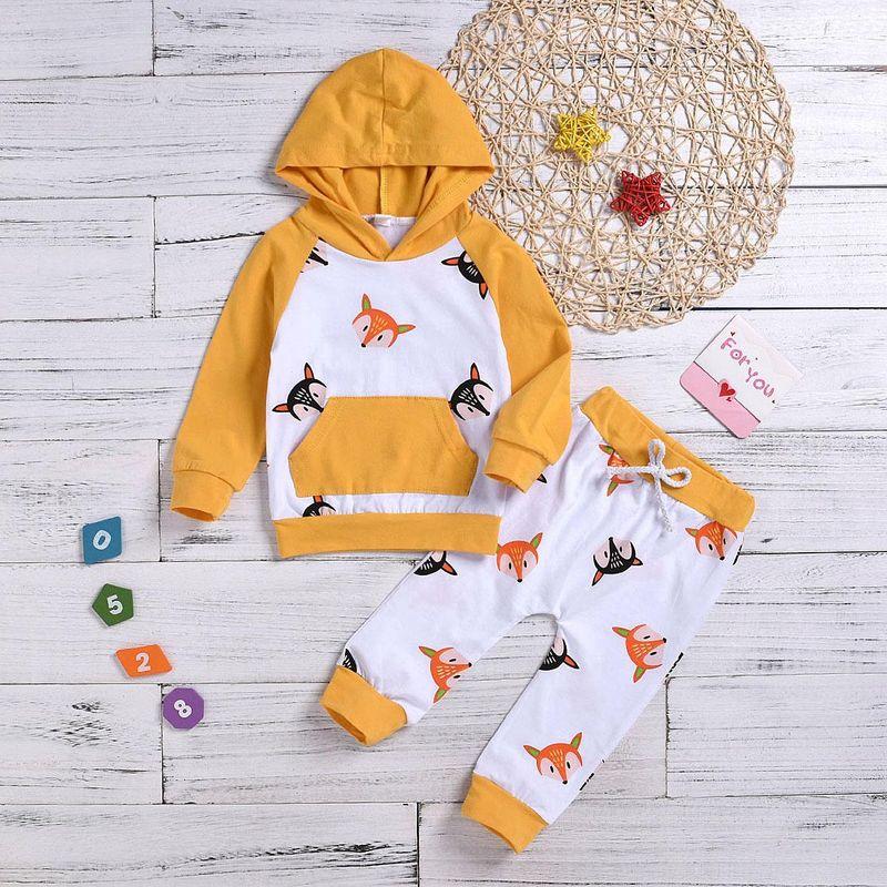 Nuevo traje para niños y niñas con suéter de manga larga con capucha estampado de algodón de dos piezas NHYB193056