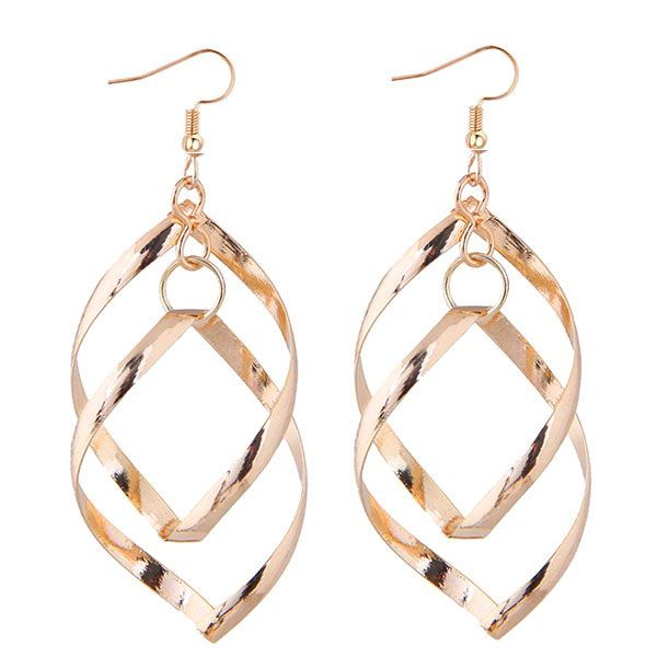 European and American fashion metal twisted rhombus personality temperament earrings NHSC193572