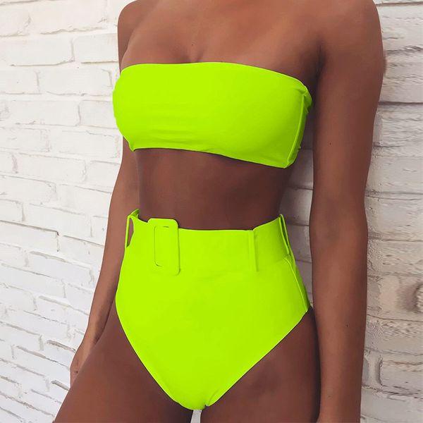 Sexy bikini fluorescent green phosphor wholesale women's fashion swimwear NHDE193133