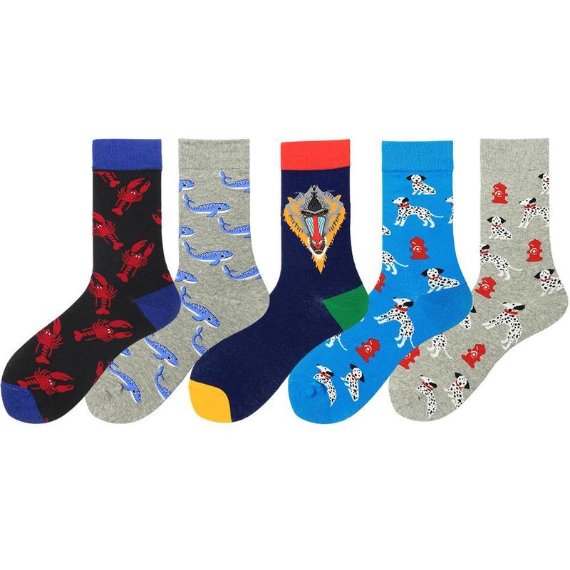 Nuevos calcetines coloridos para hombres de la serie animal NHZG193212