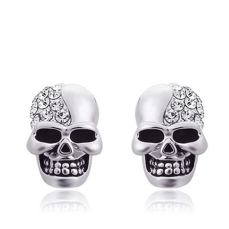European and American fashion metal studded skull earrings NHSC193561's discount tags