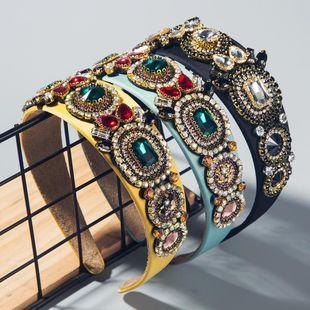 Hot sale female colored hair hoop adult head buckle baroque diamond flower headband NHLN193233's discount tags
