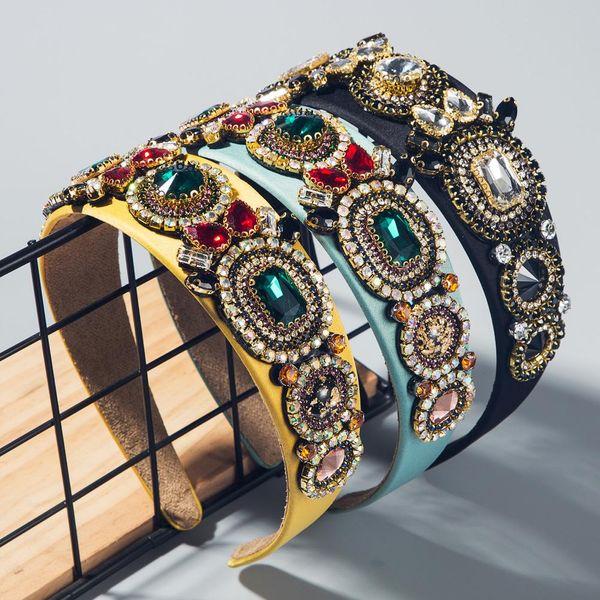 Hot sale female colored hair hoop adult head buckle baroque diamond flower headband NHLN193233