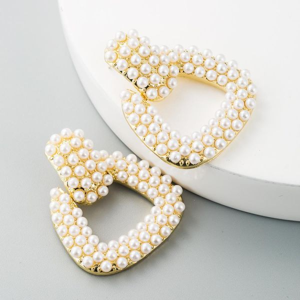 Creative wild geometric earrings alloy pearl earrings women NHLN193234