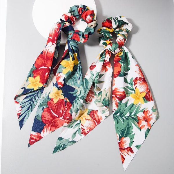 Hair rope fashion flower pattern cloth hair ring lady color head rope bow ribbon bowel NHLN193237