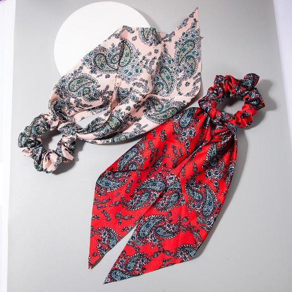 Hot Ponytail Ribbon Bowel Ring Knotted Scarf Tassel Printed Flower Headband NHLN193238