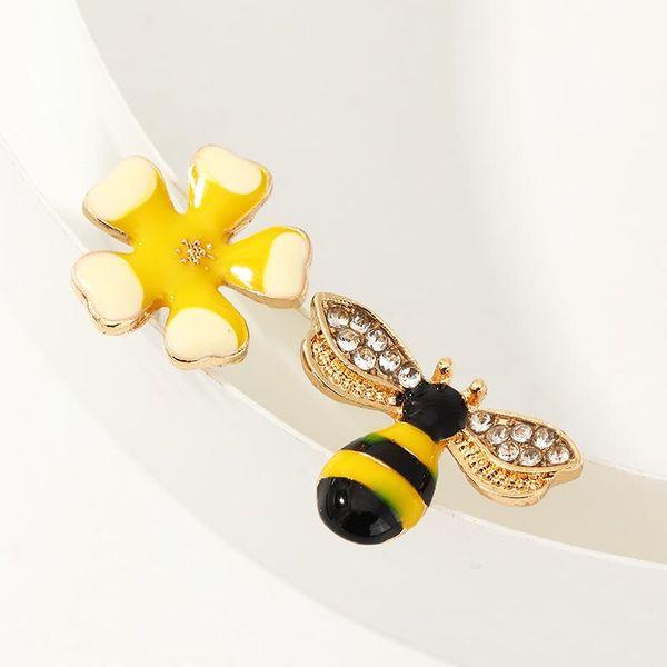 Asymmetric flower earrings painting oil bee earrings women NHNZ193246