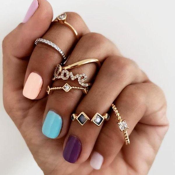Jewelry Vintage Love LOVE Ring Love Set Ring 7 Piece Set NHNZ193247