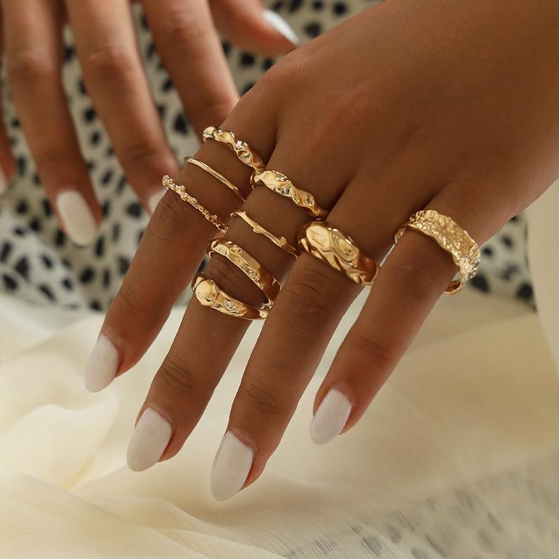 Jewelry vintage metal joint ring twisted irregular geometric ring NHNZ193253
