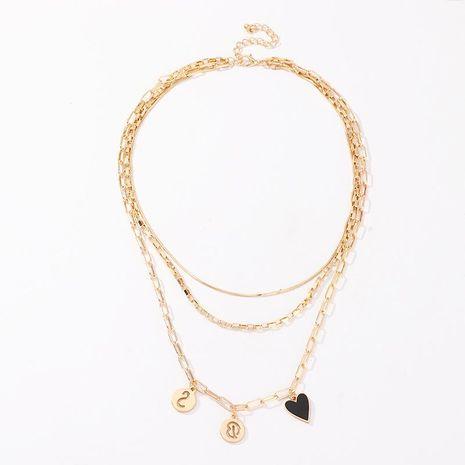 Collar de múltiples elementos de la cadena de la joyería collar retro del amor del carácter de la moda NHNZ193256's discount tags