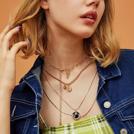 Joyas Vintage Adornos multicapa Colgante creativo ojo clave Luna Collar de diamantes NHNZ193257's discount tags