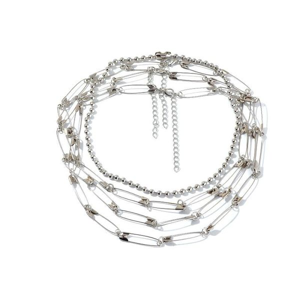 Jewelry pin necklace metal multilayer necklace NHNZ193258