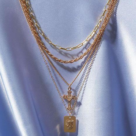 Nueva joyería moda vintage metal retrato colgante multi-capa artículo decorado collar cruzado NHNZ193259's discount tags