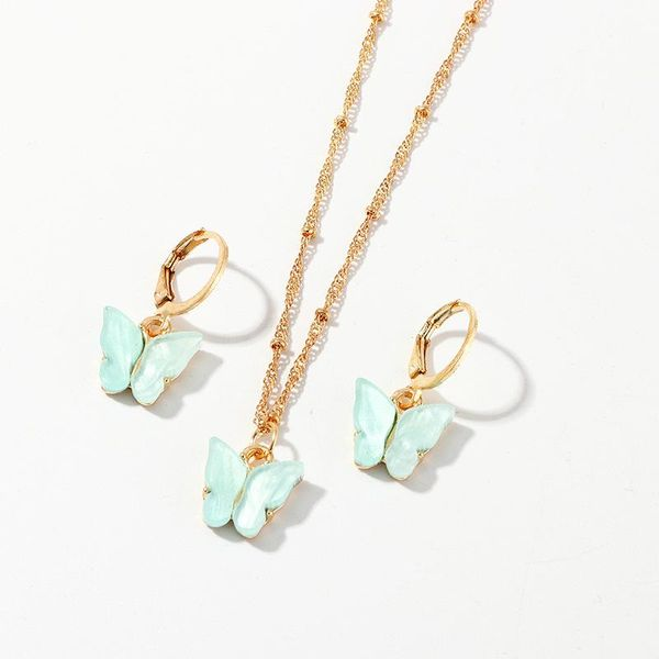Jewelry Creative Fashion Resin Light Green Butterfly Necklace Earring Set NHNZ193262