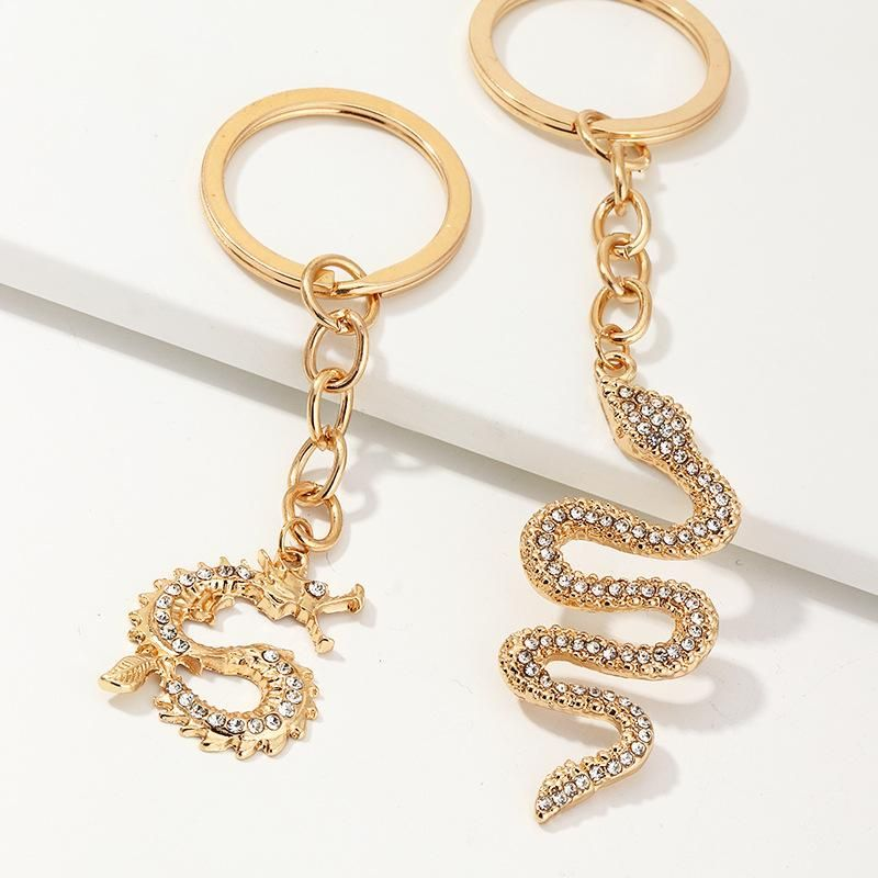 Accessories alloy studded keychain with diamond snake element zodiac dragon key ring set NHNZ193276