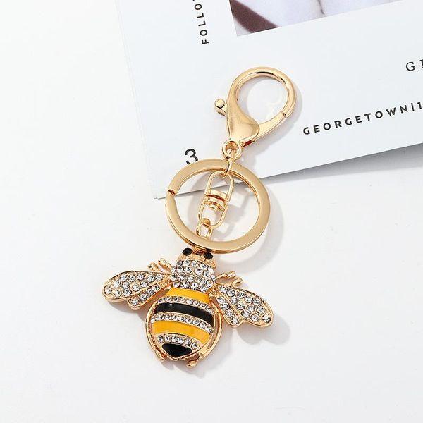 Accessories creative alloy diamond bee keychain pendant pendant key ring wholesale NHNZ193277