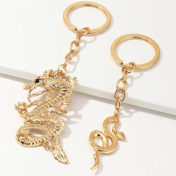 Accesorios Creative Metal Chinese Dragon Key Ring Snake Keychain Set NHNZ193278