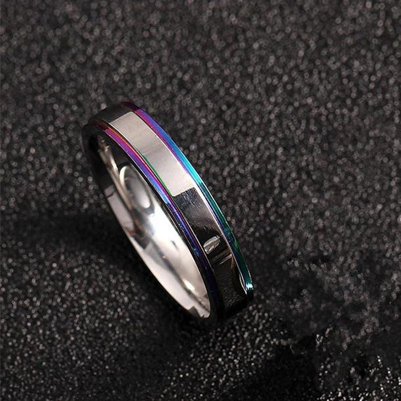4mm Colorful Edge Ring 316 Titanium Steel Ring Wedding Ring NHIM193291