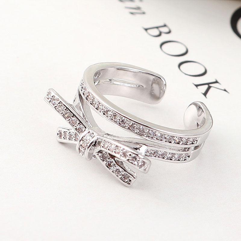 New ladies bow micro-inlaid zircon open ring wild ring jewelry NHLJ193300