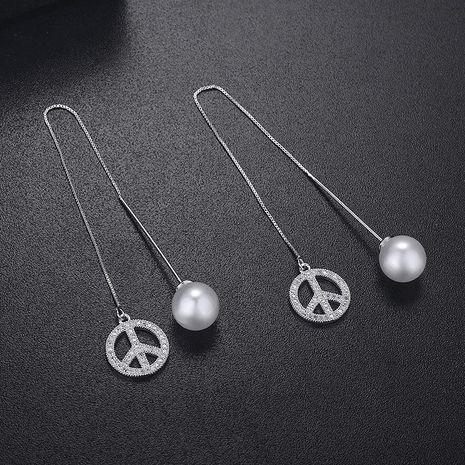 Aretes de perlas de borla de circonita micro-incrustadas largas con línea de oreja de moda coreana NHLJ193309's discount tags