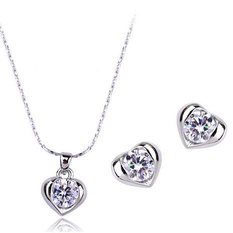 Lumière d'amour élégante et exquise incrustée d'un ensemble de bijoux de luxe en zircon AAA NHLJ193317's discount tags