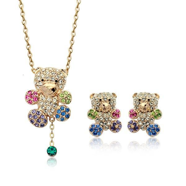 Korean Fashion Diamond Bear Fine Jewelry Set Fashion Jewelry Wholesale NHLJ193321