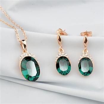 High Quality Accessories Austrian Crystal Set Vintage Bridal Jewelry Necklace Earrings NHLJ193333
