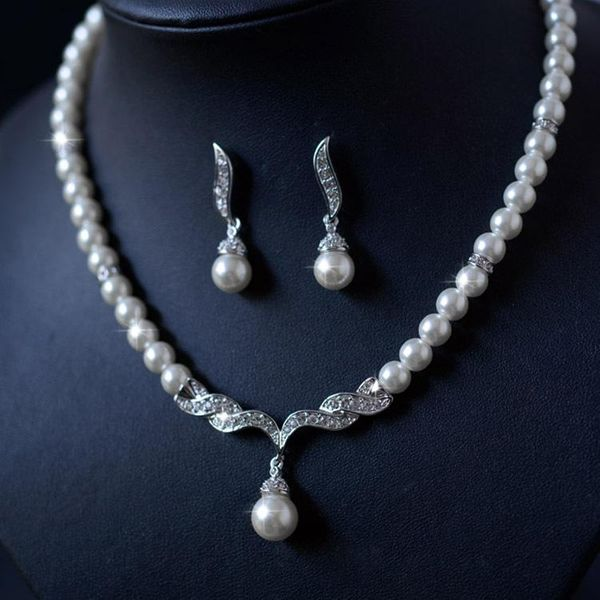 Pearl Set Korean Elegant Diamond Necklace Earrings Beautiful Bridal Jewelry Wholesale NHLJ193339