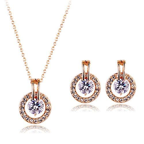 Korean Fashion Diamond Necklace Earrings Set Two-piece Ornament Wholesale NHLJ193341