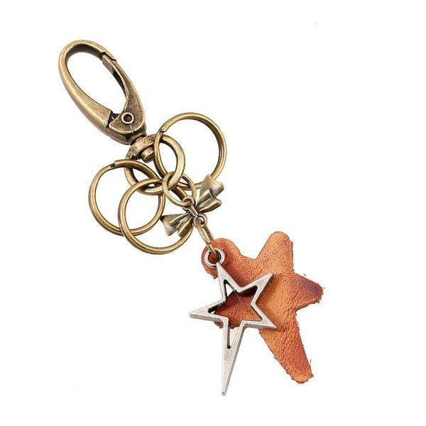 Creative Car Keychain Vintage Punk Bronze Pentagram Leather Keychain NHPK193354